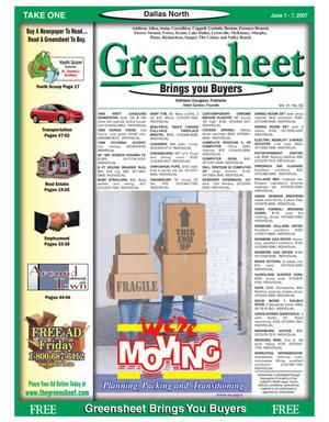 Primary view of object titled 'Greensheet (Dallas, Tex.), Vol. 31, No. 56, Ed. 1 Friday, June 1, 2007'.