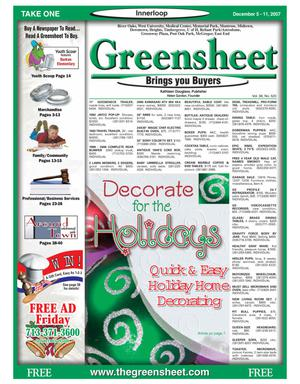 Primary view of object titled 'Greensheet (Houston, Tex.), Vol. 38, No. 520, Ed. 1 Wednesday, December 5, 2007'.