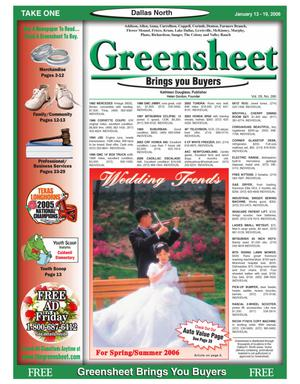 Primary view of object titled 'Greensheet (Dallas, Tex.), Vol. 29, No. 280, Ed. 1 Friday, January 13, 2006'.