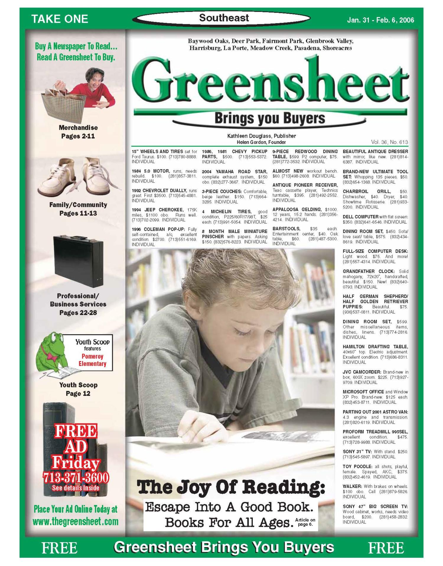 Greensheet (Houston, Tex.), Vol. 36, No. 613, Ed. 1 Tuesday, January 31, 2006                                                                                                      [Sequence #]: 1 of 56