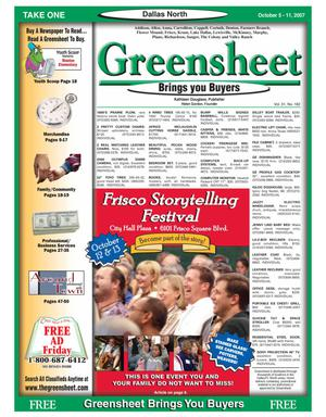 Primary view of object titled 'Greensheet (Dallas, Tex.), Vol. 31, No. 182, Ed. 1 Friday, October 5, 2007'.