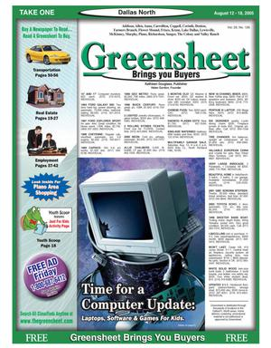 Primary view of object titled 'Greensheet (Dallas, Tex.), Vol. 29, No. 126, Ed. 1 Friday, August 12, 2005'.