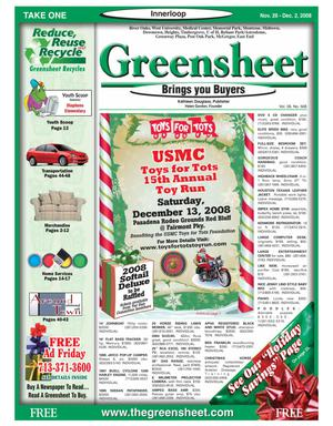 Primary view of object titled 'Greensheet (Houston, Tex.), Vol. 39, No. 508, Ed. 1 Wednesday, November 26, 2008'.