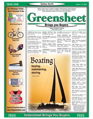 Primary view of object titled 'Greensheet (Dallas, Tex.), Vol. 31, No. 63, Ed. 1 Friday, June 8, 2007'.