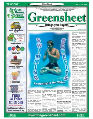 Primary view of object titled 'Greensheet (Houston, Tex.), Vol. 39, No. 292, Ed. 1 Wednesday, July 23, 2008'.