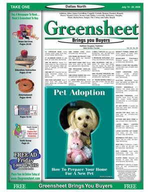 Primary view of object titled 'Greensheet (Dallas, Tex.), Vol. 30, No. 98, Ed. 1 Friday, July 14, 2006'.