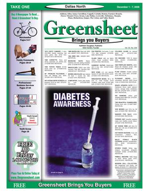 Primary view of object titled 'Greensheet (Dallas, Tex.), Vol. 30, No. 238, Ed. 1 Friday, December 1, 2006'.