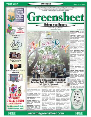 Primary view of object titled 'Greensheet (Houston, Tex.), Vol. 40, No. 112, Ed. 1 Wednesday, April 8, 2009'.