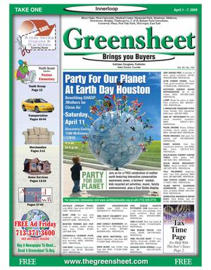 Primary view of object titled 'Greensheet (Houston, Tex.), Vol. 40, No. 100, Ed. 1 Wednesday, April 1, 2009'.