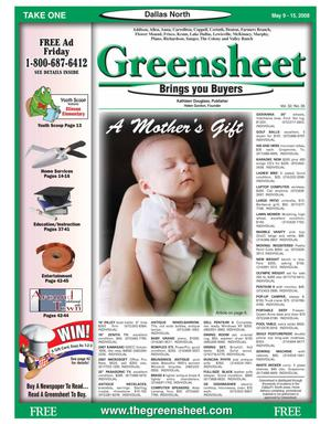 Primary view of object titled 'Greensheet (Dallas, Tex.), Vol. 32, No. 35, Ed. 1 Friday, May 9, 2008'.
