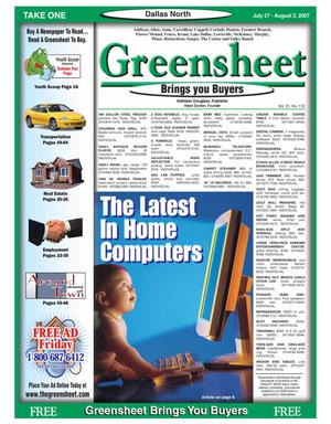 Primary view of object titled 'Greensheet (Dallas, Tex.), Vol. 31, No. 112, Ed. 1 Friday, July 27, 2007'.