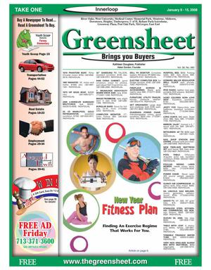 Primary view of object titled 'Greensheet (Houston, Tex.), Vol. 38, No. 580, Ed. 1 Wednesday, January 9, 2008'.