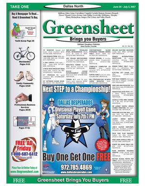 Primary view of object titled 'Greensheet (Dallas, Tex.), Vol. 31, No. 84, Ed. 1 Friday, June 29, 2007'.