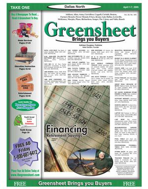 Primary view of object titled 'Greensheet (Dallas, Tex.), Vol. 28, No. 340, Ed. 1 Friday, April 1, 2005'.