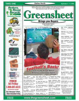 Primary view of object titled 'Greensheet (Dallas, Tex.), Vol. 32, No. 154, Ed. 1 Friday, September 5, 2008'.