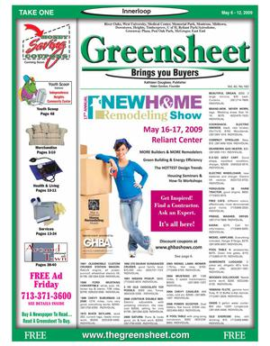 Primary view of object titled 'Greensheet (Houston, Tex.), Vol. 40, No. 160, Ed. 1 Wednesday, May 6, 2009'.