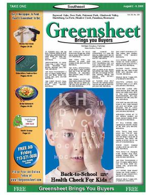 Primary view of object titled 'Greensheet (Houston, Tex.), Vol. 36, No. 301, Ed. 1 Tuesday, August 2, 2005'.