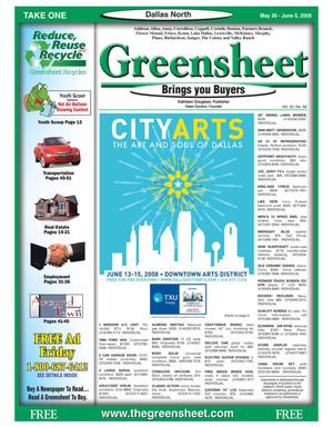 Primary view of object titled 'Greensheet (Dallas, Tex.), Vol. 32, No. 56, Ed. 1 Friday, May 30, 2008'.