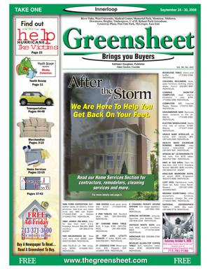 Primary view of object titled 'Greensheet (Houston, Tex.), Vol. 39, No. 400, Ed. 1 Wednesday, September 24, 2008'.
