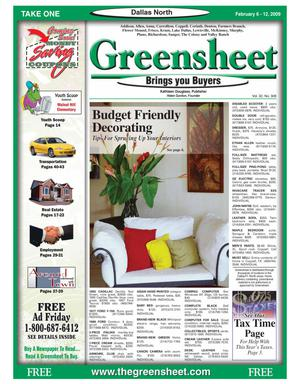 Primary view of object titled 'Greensheet (Dallas, Tex.), Vol. 32, No. 308, Ed. 1 Friday, February 6, 2009'.
