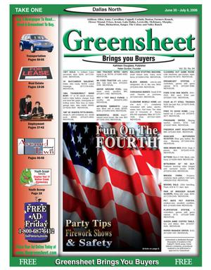 Primary view of object titled 'Greensheet (Dallas, Tex.), Vol. 30, No. 84, Ed. 1 Friday, June 30, 2006'.