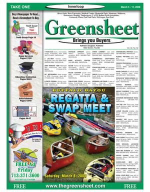 Primary view of object titled 'Greensheet (Houston, Tex.), Vol. 39, No. 52, Ed. 1 Wednesday, March 5, 2008'.