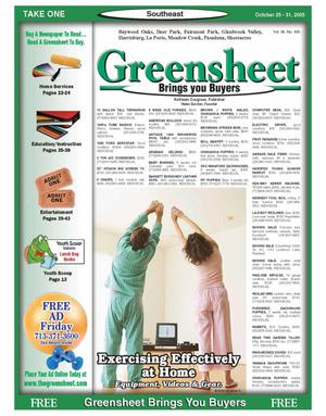 Primary view of object titled 'Greensheet (Houston, Tex.), Vol. 36, No. 445, Ed. 1 Tuesday, October 25, 2005'.