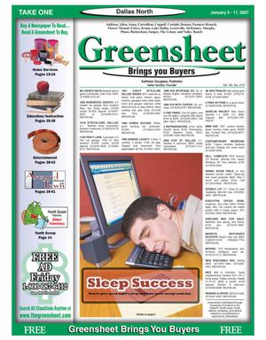 Primary view of object titled 'Greensheet (Dallas, Tex.), Vol. 30, No. 273, Ed. 1 Friday, January 5, 2007'.
