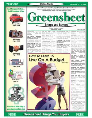 Primary view of object titled 'Greensheet (Dallas, Tex.), Vol. 30, No. 168, Ed. 1 Friday, September 22, 2006'.