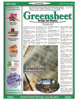 Primary view of object titled 'Greensheet (Houston, Tex.), Vol. 36, No. 88, Ed. 1 Wednesday, March 30, 2005'.