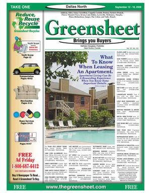 Primary view of object titled 'Greensheet (Dallas, Tex.), Vol. 32, No. 161, Ed. 1 Friday, September 12, 2008'.