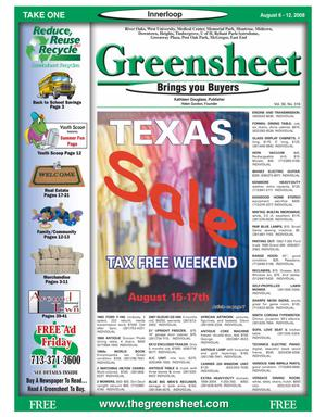 Primary view of object titled 'Greensheet (Houston, Tex.), Vol. 39, No. 316, Ed. 1 Wednesday, August 6, 2008'.