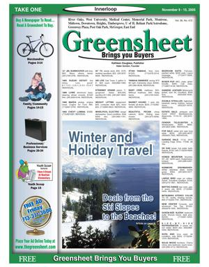 Primary view of object titled 'Greensheet (Houston, Tex.), Vol. 36, No. 472, Ed. 1 Wednesday, November 9, 2005'.