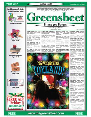 Primary view of object titled 'Greensheet (Dallas, Tex.), Vol. 31, No. 252, Ed. 1 Friday, December 14, 2007'.