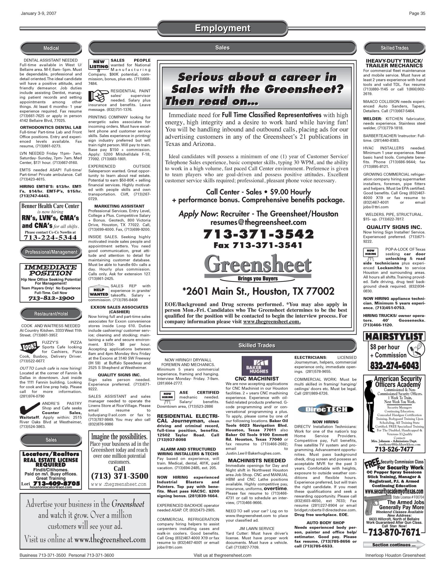 Greensheet Houston Tex Vol 37 No 568 Ed 1 Wednesday