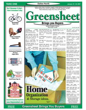 Primary view of object titled 'Greensheet (Dallas, Tex.), Vol. 30, No. 287, Ed. 1 Friday, January 19, 2007'.