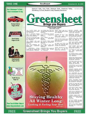 Primary view of object titled 'Greensheet (Houston, Tex.), Vol. 36, No. 493, Ed. 1 Tuesday, November 22, 2005'.