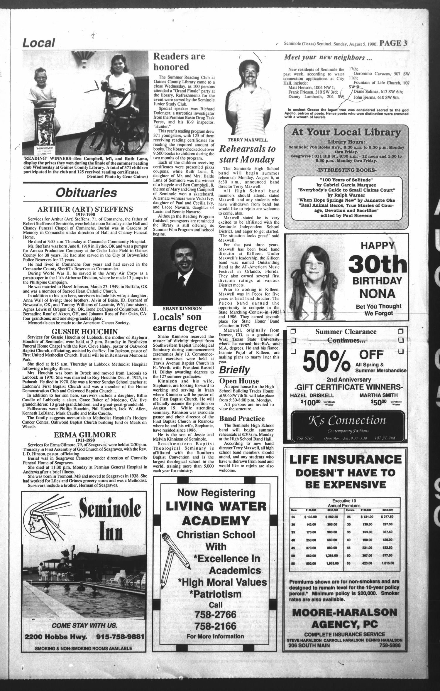 The Seminole Sentinel (Seminole, Tex.), Vol. 83, No. 80, Ed. 1 Sunday, August 5, 1990                                                                                                      [Sequence #]: 3 of 18