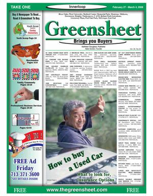 Primary view of object titled 'Greensheet (Houston, Tex.), Vol. 39, No. 40, Ed. 1 Wednesday, February 27, 2008'.