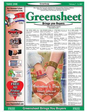 Primary view of object titled 'Greensheet (Houston, Tex.), Vol. 38, No. 4, Ed. 1 Wednesday, February 7, 2007'.