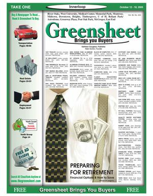 Primary view of object titled 'Greensheet (Houston, Tex.), Vol. 36, No. 424, Ed. 1 Wednesday, October 12, 2005'.