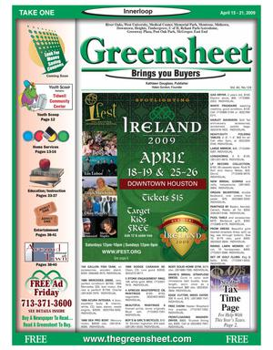Primary view of object titled 'Greensheet (Houston, Tex.), Vol. 40, No. 124, Ed. 1 Wednesday, April 15, 2009'.