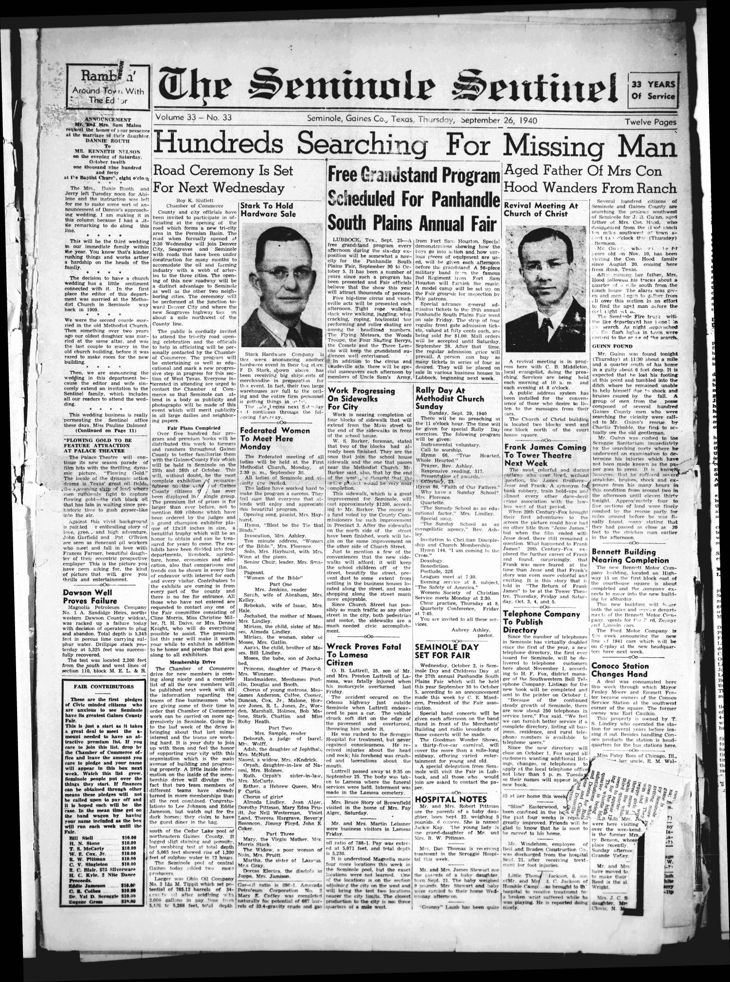 The Seminole Sentinel (Seminole, Tex.), Vol. 33, No. 33, Ed. 1 Thursday, September 26, 1940                                                                                                      [Sequence #]: 1 of 12
