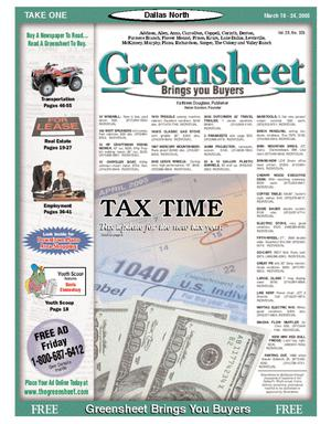 Primary view of object titled 'Greensheet (Dallas, Tex.), Vol. 28, No. 326, Ed. 1 Friday, March 18, 2005'.