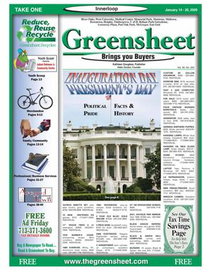 Primary view of object titled 'Greensheet (Houston, Tex.), Vol. 39, No. 592, Ed. 1 Wednesday, January 14, 2009'.