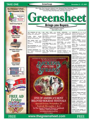 Primary view of object titled 'Greensheet (Houston, Tex.), Vol. 38, No. 496, Ed. 1 Wednesday, November 21, 2007'.