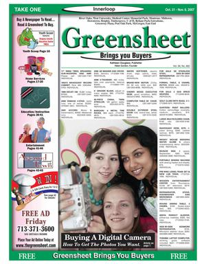 Primary view of object titled 'Greensheet (Houston, Tex.), Vol. 38, No. 460, Ed. 1 Wednesday, October 31, 2007'.
