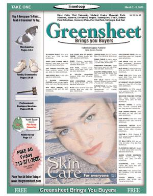 Primary view of object titled 'Greensheet (Houston, Tex.), Vol. 36, No. 40, Ed. 1 Wednesday, March 2, 2005'.