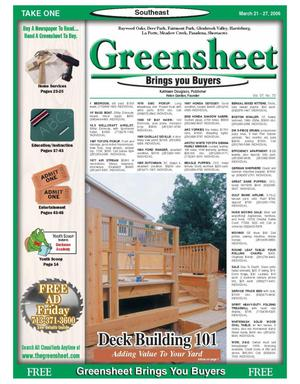 Primary view of object titled 'Greensheet (Houston, Tex.), Vol. 37, No. 73, Ed. 1 Tuesday, March 21, 2006'.