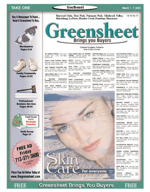 Primary view of object titled 'Greensheet (Houston, Tex.), Vol. 36, No. 37, Ed. 1 Tuesday, March 1, 2005'.